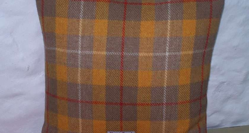 Yellow Orange Tartan Check Cushion Cover Cannycushions Tillyscaravan