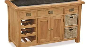 Zelah Oak Granite Top Kitchen Island Butchers Block